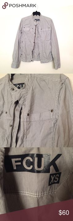 FCUK Grey Utility Jacket Awesome grey pinstripe jacket by FCUK! It resembles a men's button up when worn. It's a size XS but fits like a Small. Bit oversized. In like new condition. French Connection Jackets & Coats Utility Jackets