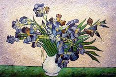 """""""Irises In A Vase"""" by Vincent Van Gogh. Oil painting from Global Wholesale Art. To shop this painting click here: http://globalwholesaleart.com/irises-in-a-vase-p-5913.html"""