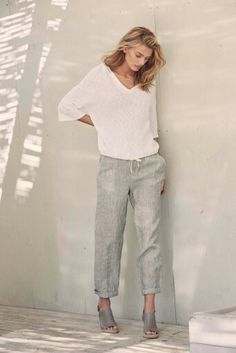 Love the loose fit in a work pant...add a flat shoe and narrow V neck. I don't want to  tug at my shoulders all day.
