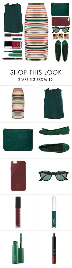 """Striped Skirt"" by juliehalloran ❤ liked on Polyvore featuring Rosie Assoulin, Marni, Balmain, PrimaDonna, Native Union, Ray-Ban, MAC Cosmetics and NARS Cosmetics"