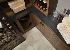 Indian Premium Black Satin is the accent piece you've been looking for to highlight your collection - whatever that may be. https://www.arizonatile.com/en/products/granite/indian-premium-black-satin #interiordesign #black #granite #winecellar