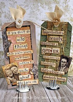 Tags by Teresa Abajo using Darkroom Door Texture Stamps, Quote Stamps and Photobooth images.