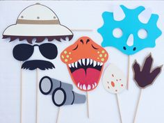Dinosaur Photo Booth Props ; Jurassic World Birthday Party ; Safari Jungle Theme ; Jurassic Park Decorations