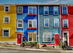 John's, Nfld its called jelly bean row .for its beautiful colors.They stand out against the snow in the winter time. Gros Morne, Newfoundland And Labrador, Newfoundland Canada, Canadian Travel, Beautiful Buildings, Jelly Beans, O Canada, Oh The Places You'll Go, House Painting