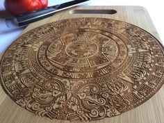Aztec Calendar, Calendario Azteca, Laser Engraved Bamboo Cutting Board, Housewarming, Gift, Birthday, Anniversary
