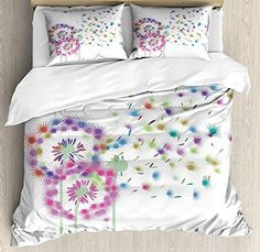 CHASOEA Dandelion Bedding SetsColorful Blowball Flowers in Wind Seeds Flying Away Spring Season Inspiration Duvet Cover Sets King Bedding Comforter Cover Sets Soft Bedding Collections Comforter Cover, Bed Duvet Covers, Duvet Cover Sets, Pillow Shams, Flat Sheets, Bed Sheets, King Bedding Sets, Queen Bedding, Bedspreads Comforters