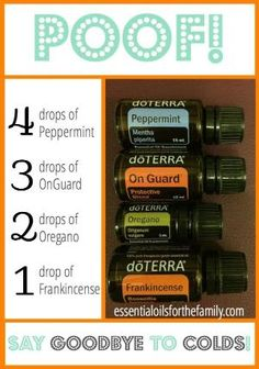 Today I want to share with you our secret weapon for colds and the flu… POOF! POOF is a blend of 4 oils (Peppermint, OnGuard, Oregano, & Frankincense) that, when used together, pack a powerful punch to boost your immune system and knock out any cold, right away. Here's the recipe… You can apply POOF to the bottoms of your feet, but the best way to take it is internally. Mix it up in a shot glass with some water, or {Read More} by SLKelley