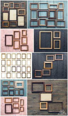 Frames on wooden wall - 9 HQ JPEG