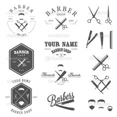 Set of vintage barber shop labels, badges and design elements #design Download: http://depositphotos.com/23353330/stock-illustration-set-of-barber-shop-labels.html?ref=5747528