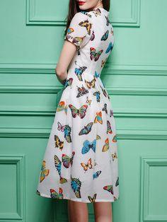Printed Bow Chiffon Midi Dress