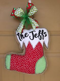 A personal favorite from my Etsy shop https://www.etsy.com/listing/557937180/burlap-door-hanger-stocking-last-name