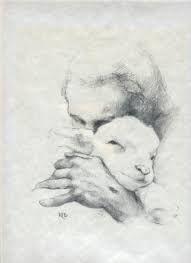 Jesus and the Lamb - Pencil Sketch Unframed Paper Print - Katherine Brown, Lds Art, Bible Art, Jesus Pastor, Lamb Drawing, Sketch Drawing, Jesus Sketch, Jesus Lamb, Jesus Drawings, Pencil Drawings