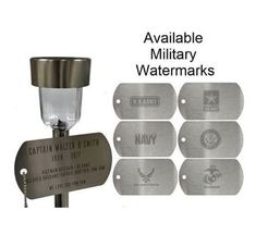 Remember the veteran in your life with one of our personalized memorial lights. Honor Veterans, Veterans Memorial, Plaque Design, Solar Lights, Solar Power, A Table, Place Card Holders, Military, Stainless Steel