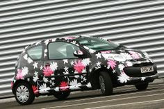 Full Vinyl Wrapped Citroen C1 With Printed Flowers
