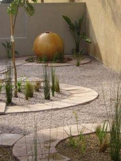 jardin zen cercle boule amenagement gravier