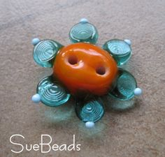 Buttons  Lampwork Buttons  Mango Flower Button  by suebeads, $12.00
