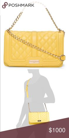 BCBG Paris Quilted Crossbody Bag Cute bag perfect for welcoming spring!!!  The yellow color is bright and stylish (not a weird yellow).  The gold chain and quilted detail adds a little something special.  Front panel snaps closed, it has two interior pockets and the strap is detachable and adjustable (53 in. at longest). BCBG Bags Crossbody Bags