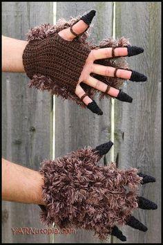 Crochet Beast Costume Gloves Free Crochet Pattern - Video Crochet Beast Costume Gloves Free Crochet Pattern - Video: fingerless mittens, Halloween, furry gloves for Halloween Crochet Mittens Free Pattern, Crochet Gloves, Crochet Beanie, Cute Crochet, Crochet For Kids, Crochet Patterns, Free Knitting, Crochet Cardigan, Diy Halloween Costumes For Women