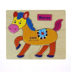 toyPikolai Wooden Blocks Animals Kid Children Educational Toy Puzzle Horse -- You can get more details by clicking on the image.