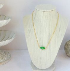 Green and Gold Venetian Glass Bead Necklace by InstinctBoutique, $23.00