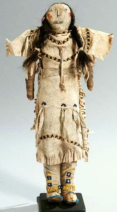 Cheyenne-Arapaho Beaded Hide Doll - late 19th century. Finely detailed, wearing face paint, (minor bead loss), ht. 13.6 in. Native American Dolls, Native American Design, Native American Artifacts, Native American Beadwork, Native American History, American Indians, American Clothing, Curiosity Shop, Native Art
