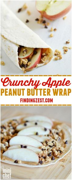 Crunchy Apple Peanut Butter Wrap: Enjoy this tasty wrap as a breakfast on the go. Crunchy Apple Peanut Butter Wrap: Enjoy this tasty wrap as a breakfast on the go, fun lunch option or hearty aft. Lunch Snacks, Easy Snacks, Easy Desserts, Dessert Simple, Healthy Protein Snacks, Healthy Lunch Ideas, Healthy Lunch Wraps, Protein Wraps, Healthy Breakfast Wraps