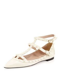 Rockstud Cage Patent Ballerina Flat, Ivory by Valentino at Neiman Marcus.
