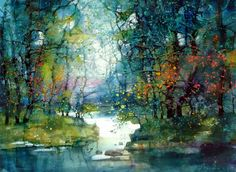 15 Beautiful Watercolor Landscape Paintings by ZL Feng - 9 watercolor paintings zlfeng Beautiful Landscape Paintings, Watercolor Landscape Paintings, Watercolor Trees, Watercolor Artists, Cool Landscapes, Abstract Landscape, Watercolor Artwork, Colorful Paintings, Watercolor Portraits