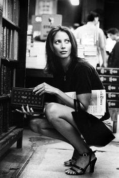 Christy Turlington (at the Strand Bookstore, Manhattan).