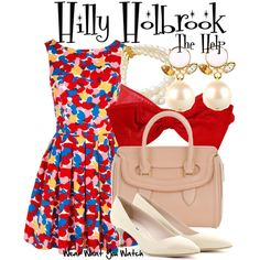 The Help by wearwhatyouwatch on Polyvore featuring Jack Wills, Miu Miu, Alexander McQueen, Kate Spade, floral dresses, pleated skirts, pearl earrings, top handle bags, kitten heels and the help
