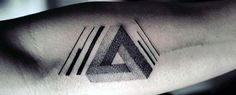 Discover an optical illusion that bends the mind with the top 60 best Penrose triangle tattoo designs for men. Explore cool Impossible Tribar ideas.