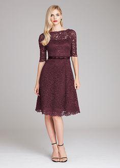 Burgundy lace tea length dress by Teri Jon | Fall Mother of the Bride Dresses