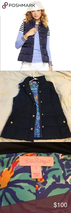 Lilly Pulitzer vest !!! Navy blue with gold bottoms. I have work this once. It is in perfect condition! Lilly Pulitzer Jackets & Coats Vests