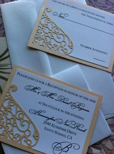 Lasercut Wedding Invitation Sleeve Pocket - Elegant Swirl Pattern - Die Cut Pocket