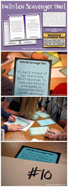 Nutrition Scavenger Hunt - Health Lesson Plans | Health Education | Middle School | High School