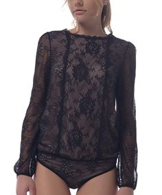 Another great find on #zulily! Arefeva Black Lace Keyhole Bodysuit by Arefeva #zulilyfinds
