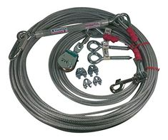 Dog Supplies: 100 FOOT AERIAL DOG RUN WITH 15 FOOT LEAD LINE AND ALL HARDWARE This kit is for medium dogs, up to 100 pounds. Custom built for DOGS to ensure maximum comfort and security. Easy to use and a wonderful way of giving your dog freedom to roam without the fear of him running off. http://dogsiteworld.com/product/freedom-pet-supply-100-ft-aerial-dog-trolley-run-leash-harness-cable-overhead-fdr-100/ - DogSiteWorldStore...