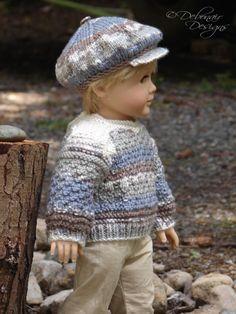 OOAK Hand Knit Sweater & Cap set for American Boy/Girl Dolls by Debonair Designs
