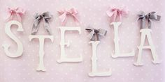 Our nursery Letters personalize your baby's room! Creating a personalized space for your baby has just gotten easier with our wooden letters and name plaques! Our wooden letters for nursery come in a variety of styles. Baby Name Letters, Wooden Wall Letters, Hanging Letters, Nursery Letters, Letter Wall, Book Letters, Cursive Letters, Glitter Letters, Pink And Grey Room