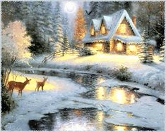 Friends coming to visit on this cold winter night pieces) Gifs, New Puzzle, Thomas Kinkade, Peaceful Places, Winter Night, Drinking Water, Views Album, Jigsaw Puzzles, Einstein