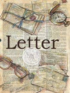 PRINT:  Letter Mixed Media Drawing on Antique Dictionary by flyingshoes