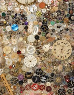 Close-up of Lisa Kokin's style of button art.  Note each piece is sewn (stitched) to adjacent pieces.  Incredible, fantastic!