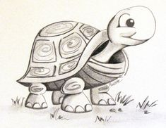 Charcoal Drawing Techniques Black and white graphite and charcoal drawing of a turtle Easy Turtle Drawing, Cute Turtle Drawings, Turtle Sketch, Baby Animal Drawings, Drawing Animals, Cartoon Sketches, Animal Sketches, Art Drawings Sketches, Easy Drawings