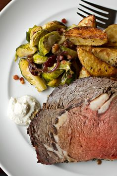 """Take a dive into this amazingly sumptuous recipe - """"Herb crusted prime rib w/ creamy dijon-horseradish sauce & au jus."""" Talk about a delicious high class meal! #YUM"""