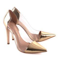 Scarpin Salto Fino by Luiza Barcelos - #shoes #gold #trasparence #luizabarcelos
