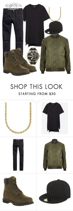 """""""army green"""" by stylebyria ❤ liked on Polyvore featuring Lord & Taylor, Zara, H&M, River Island, Timberland, New Era, Diesel, mens, men and men's wear"""
