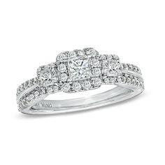 Brides: Three-Stone Engagement Rings