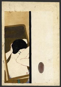 "Onchi   (1891-1955)   ""Mirror"" 1930  Publisher:	 	Self carved and printed, 14 x 9.75"""