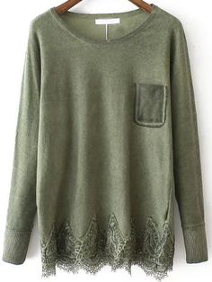 Cozy & Casual Fashion : Green Round Neck Lace Hem Loose Sweater