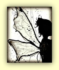 Fairy Art Magical Faerie Black&White ink painting by PeaceofViolet, $18.00